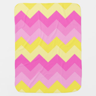 Baby Girl Birth Stats Hot Pink Yellow Chevron Baby Blanket