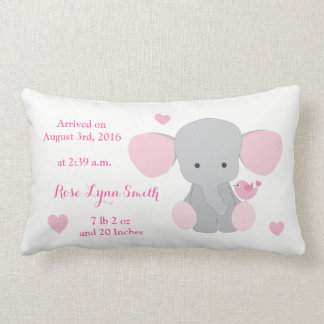 Baby Girl Birth Stats Pink Grey Elephant Chevron Lumbar Pillow