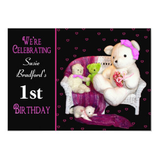 Baby Girl Birthday Party Invite - Insert  Age