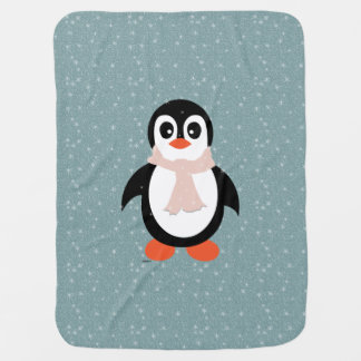 Baby girl blanket penguin in flurry