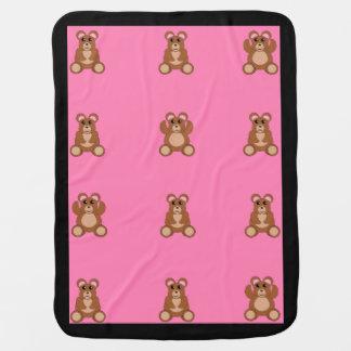 Baby girl blanket with cute teddy bears stroller blanket