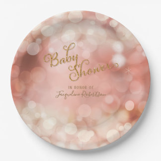 Baby Girl Bokeh Sparkle Twinkle Lights Pastel Pink Paper Plate