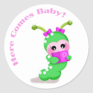Baby Girl Bookworm Classic Round Sticker