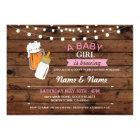Baby Girl Brewing Shower Beers Pink Wood Invite