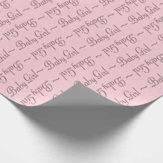 Baby Girl Brown-Gray and Light Pink Gift Wrap