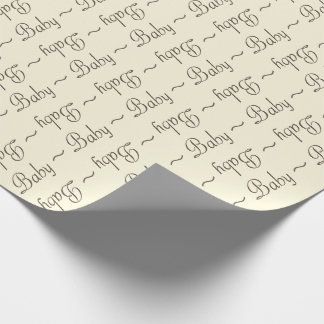 Baby Girl Brown-Gray and Light Yellow Gift Wrap