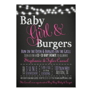 Baby Girl Burgers BBQ Shower Invitation Book Card