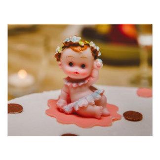 Baby girl cake topper flyer design