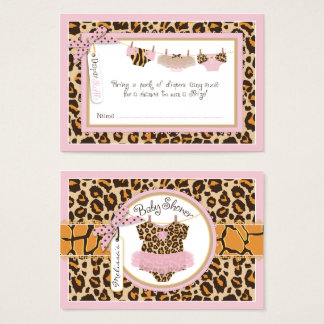Baby Girl Cheetah Print Tutu Diaper Raffle Ticket