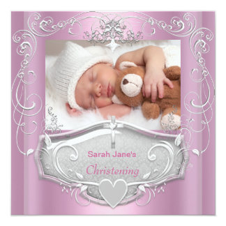 """Baby Girl Christening Baptism Pink Silver Cross 5.25"""" Square Invitation Card"""