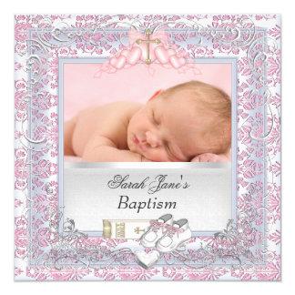 "Baby Girl Christening Baptism White Pink 5.25"" Square Invitation Card"