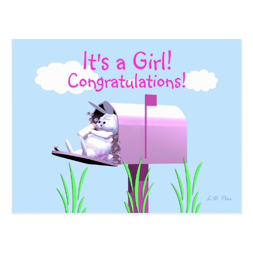 Baby Girl Congratulations - Bunny in Mailbox Post Cards