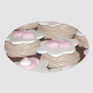 baby girl cupcakes oval sticker