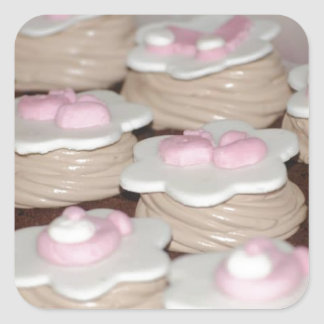 baby girl cupcakes square sticker