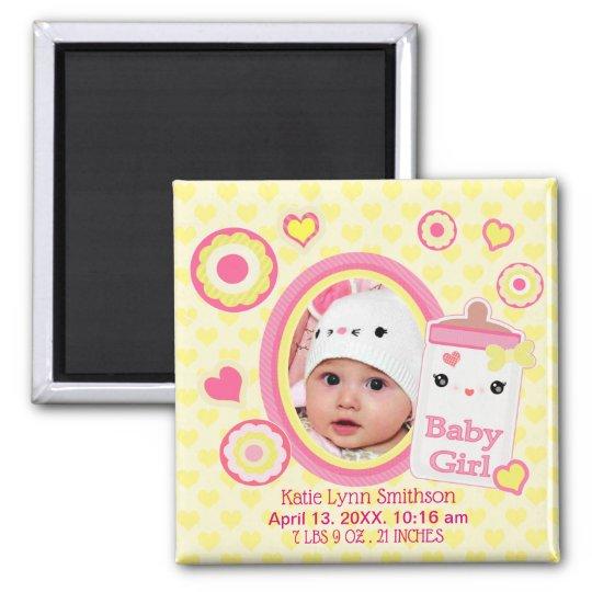 Baby Girl Custom Birth Announcement Magnet