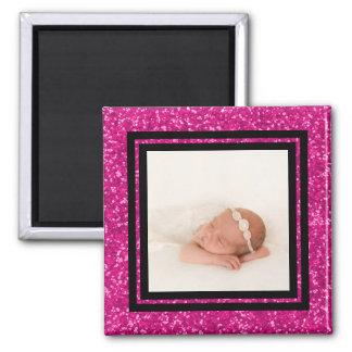 Baby Girl Custom Photo Keepsake Pink Glitter Square Magnet