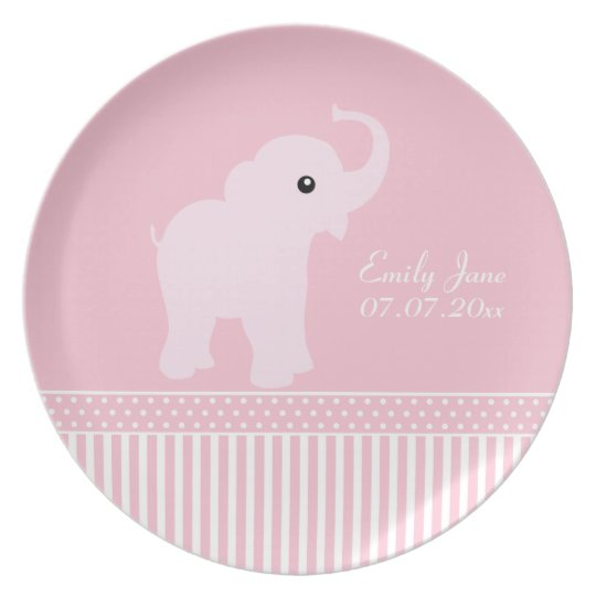 Baby Girl cute personalized name elephant plate, Plate