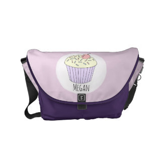 Baby Girl Doodle Cupcake & Name Diaper Bag Commuter Bag