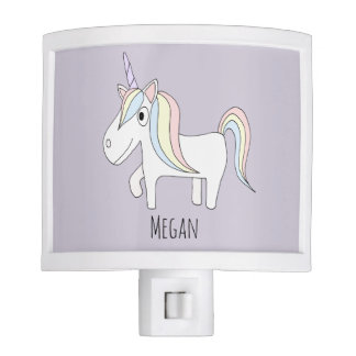 Baby Girl Doodle Magical Unicorn with Name Nursery Night Lites