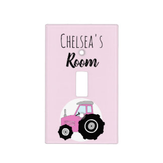 Baby Girl Doodle Pink Farm Tractor Name Nursery Light Switch Cover
