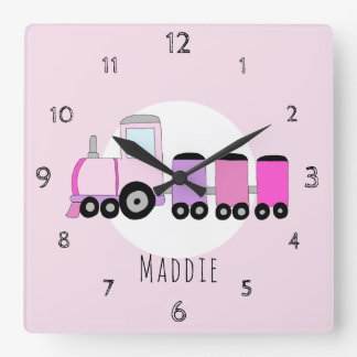 Baby Girl Doodle Pink Locomotive Train Nursery Square Wall Clock