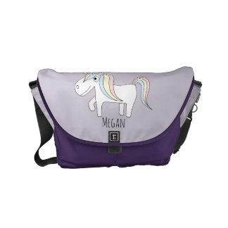 Baby Girl Doodle Unicorn & Name Diaper Bag Courier Bag