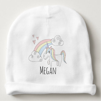Baby Girl Doodle Unicorn Rainbow Hearts with Name Baby Beanie