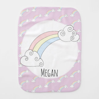 Baby Girl Doodle Whimsical Rainbow with Name Burp Cloth