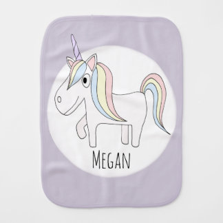 Baby Girl Doodle Whimsical Unicorn with Name Burp Cloth