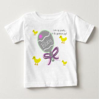 Baby Girl Elegant Pink Baby Rattle Hospital Name Baby T-Shirt