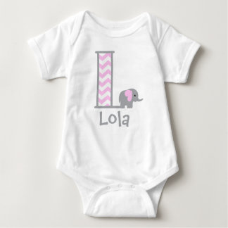 Baby Girl Elephant Bodysuit Pink Grey Monogram L