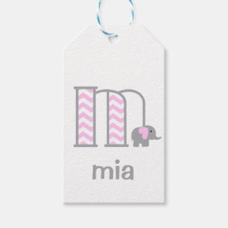 Baby Girl Elephant Pink Chevron Gift Tag Letter m Pack Of Gift Tags
