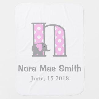 Baby Girl Elephant Pink Polka Dot Blanket Letter N Baby Blankets