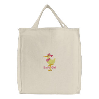 Baby girl embroidered canvas tote diaper bag