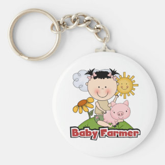 Baby Girl Farmer Wtih Pig T-shirts and Gifts Basic Round Button Keychain