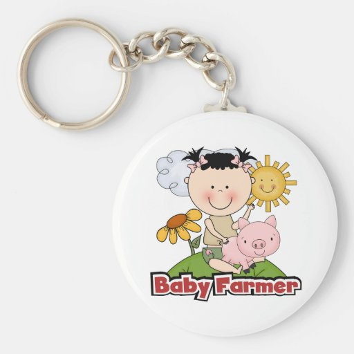 Baby Girl Farmer Wtih Pig T-shirts and Gifts Key Chain