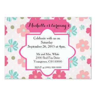 "Baby Girl First birthday 5"" X 7"" Invitation Card"