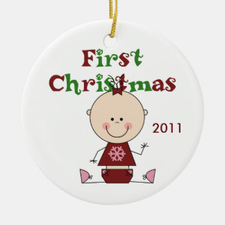 Baby Girl First Christmas Dated Ornament