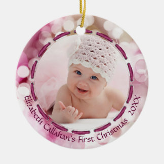 Baby Girl First Christmas, Pink/Plum Bokeh, 2 Pics Ceramic Ornament