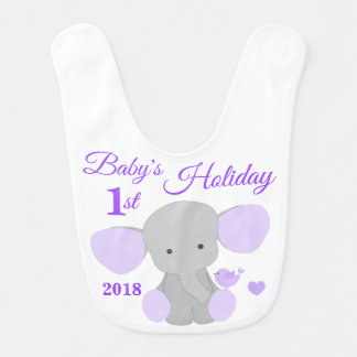 Baby Girl First Holiday Purple Elephant Keepsake Bib