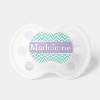 Baby Girl First Name | Aqua and Purple Chevron Baby Pacifiers