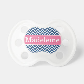Baby Girl First Name | Pink and Navy Chevron Baby Pacifier