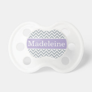Baby Girl First Name | Purple and Gray Chevron Baby Pacifiers
