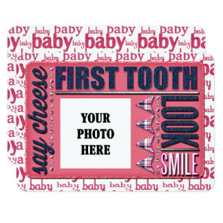 Baby Girl First Tooth JOURNAL CARD