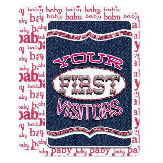 Baby Girl First Visitors JOURNAL CARD