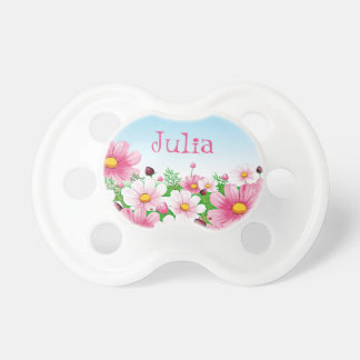 Baby Girl Floral Flower Garden Pink Yellow Blue Pacifier