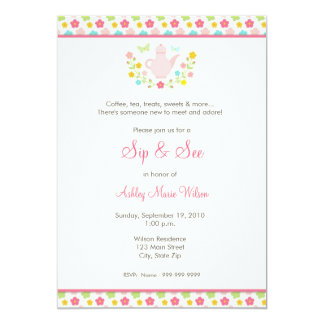 Baby Girl Floral Sip and See Invitation