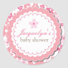 Baby Girl Flower Shower Thank You Favour Sticker