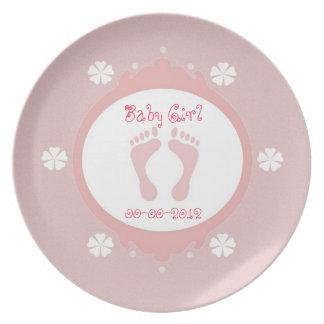 Baby Girl Footprint Plate