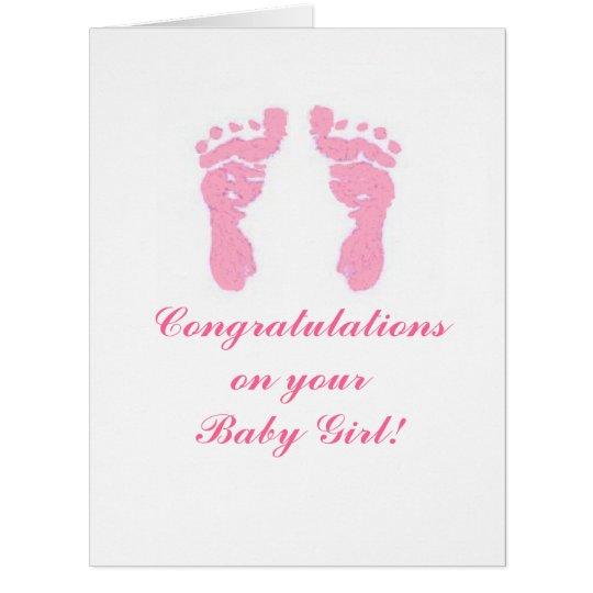 """""""Baby Girl Footprints"""" Big 8.5""""x11"""" Card"""